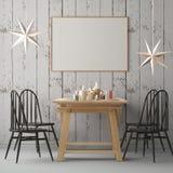 与一张海报的圣诞节大模型在饭桌的背景 3d翻译 图库摄影