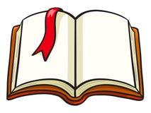 与一张红色书签的动画片书 库存照片
