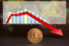 与一张越来越少的趋向图表的Bitcoin硬币 库存照片
