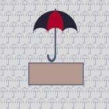与一把伞的卡片您的设计的 免版税库存图片