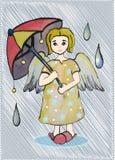 与一把伞的天使颜色在雨中 皇族释放例证
