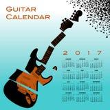 与一把切细的吉他的一本2017日历 向量例证