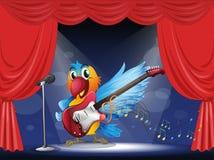 与一把吉他的一只鹦鹉在阶段 免版税图库摄影