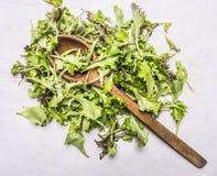 与一把木匙子的极少数新鲜的沙拉Lollo rosso,在木土气背景顶视图关闭 库存图片
