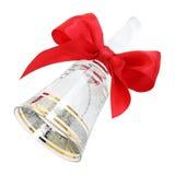 与一把红色缎弓的华丽透明水晶手摇铃 库存图片
