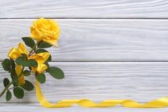 与一把美好的弓和金丝带的黄色玫瑰 库存照片