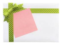 与一把绿色弓的空白的礼物 免版税库存图片
