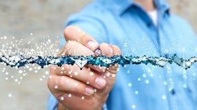 与一支数字式笔的商人感人的抽象波浪连接 库存图片