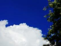 与一朵大蓬松白色云彩的明亮的清楚的蓝天 免版税库存照片