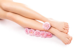 与一朵桃红色玫瑰色花的松弛修脚 免版税库存照片