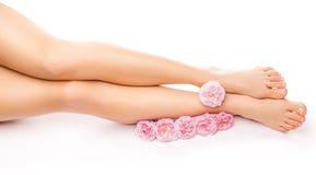 与一朵桃红色玫瑰色花的松弛修脚 图库摄影