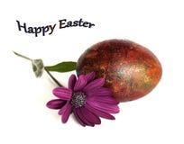 与一朵精美春天花的复活节彩蛋 免版税库存图片