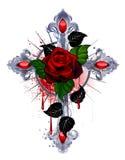 与一朵红色玫瑰的十字架 库存图片