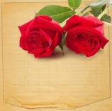 与一朵美丽的红色玫瑰的老葡萄酒卡片在纸 免版税图库摄影