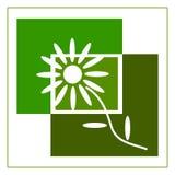 与一朵花的商标在绿色,例证树荫下  图库摄影