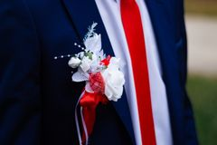 与一朵花的新郎的衣服在他的在特写镜头视图的胸口婚姻的细节 免版税库存照片