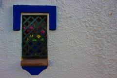 与一朵花的窗口在罐 免版税库存图片