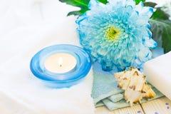 与一朵蓝色花的温泉概念 免版税图库摄影
