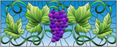 与一束的彩色玻璃例证红葡萄和叶子在天空背景,水平的取向 向量例证