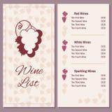 与一束葡萄的酒类一览表 免版税库存照片