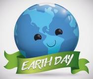 与一条丝带世界地球日的,传染媒介例证的嫩行星面孔 免版税库存图片