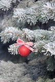 与一条丝带的发光的圣诞节球在一棵积雪的树 抽象空白背景圣诞节黑暗的装饰设计模式红色的星形 库存照片