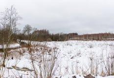 与一条小河的冬天风景 免版税图库摄影