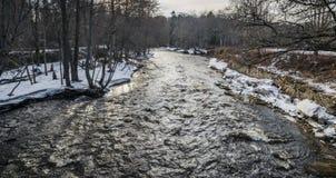 与一条小河的春天风景 库存图片
