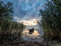 与一条小船的美好的早晨风景在日出的湖通过芦苇 库存照片