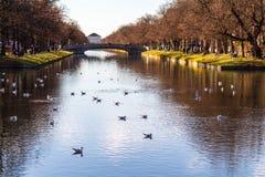 与一条平静的河的风景风景 免版税库存照片