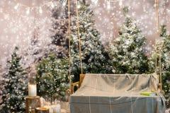 与一条毯子的空的木摇摆在一个积雪的公园或fo 免版税图库摄影