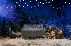 与一条毯子的空的木摇摆在雪盖子的晚上 免版税图库摄影