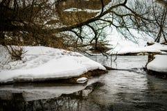 与一条河的春天风景在卡卢加州地区(俄罗斯) 免版税库存照片