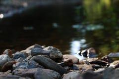与一条河的美丽的石头在背景中 库存照片
