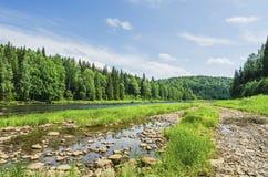 与一条河的美好的夏天风景在原野 库存图片