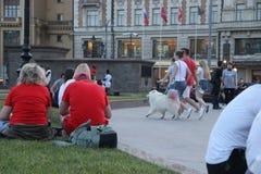 与一条白色蓬松狗的家庭步行和睦地沿着向下在步的街道在Manege广场在莫斯科 图库摄影