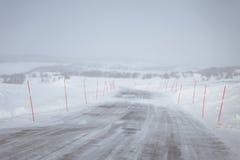 与一条白色路的一个美好的风景在冬天 免版税库存照片