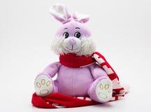 与一条红色围巾的桃红色长毛绒玩具兔子 免版税库存照片
