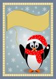 与一条红色帽子和围巾的企鹅 免版税库存图片