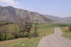 与一条路的一个美丽的平原从它,伊朗,Gilan 免版税库存图片