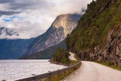 与一条路的挪威风景沿湖边 免版税库存照片