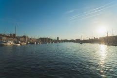 与一条运河的风景在威尼斯 免版税库存照片