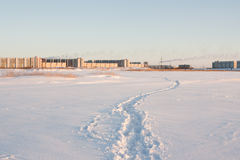 与一条道路的冬天风景在雪 库存照片