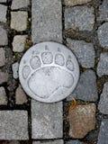 与一条金属熊轨道的石路面 库存照片