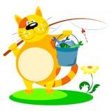 与一根钓鱼竿的猫 免版税库存图片