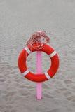 与一条长的绳索的Lifebuoy在桃红色利益垂悬了 免版税库存照片
