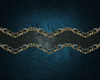 与一条黑丝带的难看的东西蓝色背景与金样式 设计的要素 设计的模板 复制广告小册子的空间 免版税库存图片