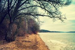 与一条冻河的冬天风景 库存照片