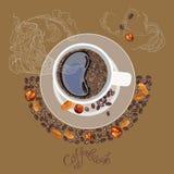 与一杯咖啡的图象的例证 库存图片