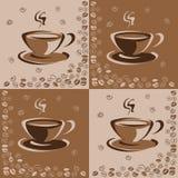 与一杯咖啡的无缝的样式和咖啡豆在棕色背景 也corel凹道例证向量 库存例证